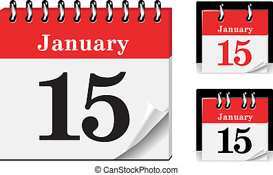 Calendar icon with glossy metal spiral on white background