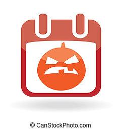 Calendar icon with  jack o\' lantern