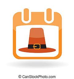 Calendar icon with pilgrim hat