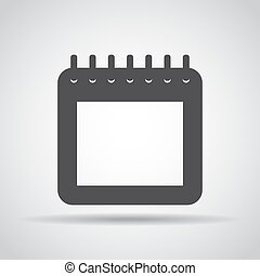 Calendar icon with shadow on a gray background. Vector illustration