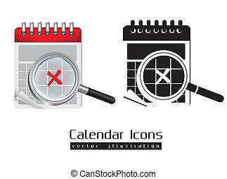 Calendar icons illustration isolated on white background,...