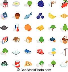 Calendar icons set, isometric style