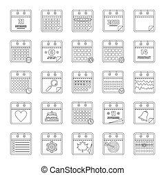 Calendar icons set, outline style