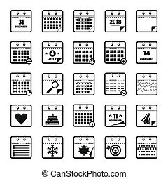 Calendar icons set, simple style