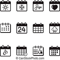 Calendar icons vector illustration set