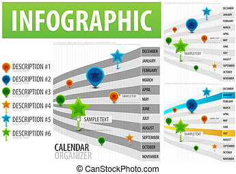 Infographic. Calendar organizer like a time line with tags