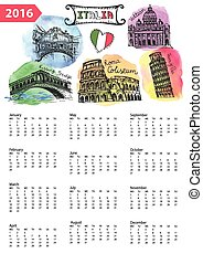 Calendar .Italy Landmarks panorama,watercolor splash