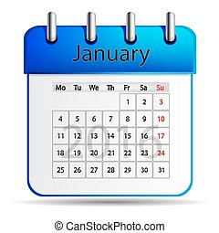 calendar., januari, 2016