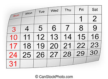 calendar january 2010 with page curl isolated on white