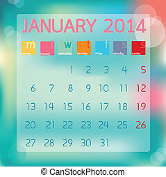Calendar January 2014, Flat style background, vector illustration