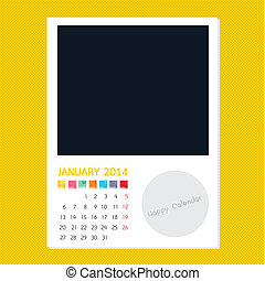 Calendar January 2014, Photo frame background