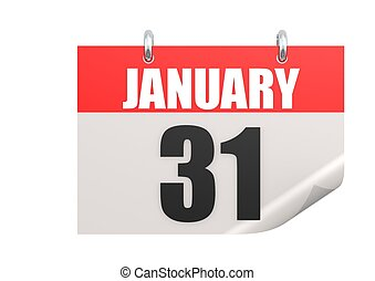 Calendar January 31 - Rendered artwork with white background