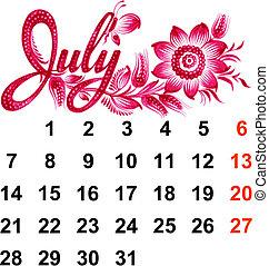 Calendar July 2014 - Calendar, July 2014, hand drawn, in...
