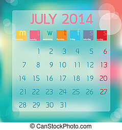 Calendar July 2014, Flat style background, vector illustration