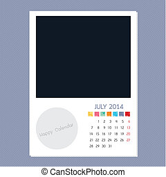 Calendar July 2014, Photo frame background