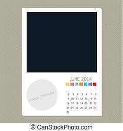 Calendar June 2014, Photo frame background