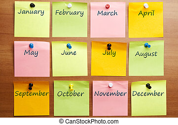 Calendar made by posst it with copy space
