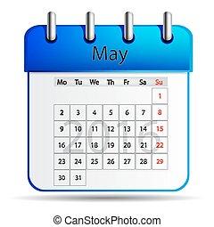 calendar., mai, 2016