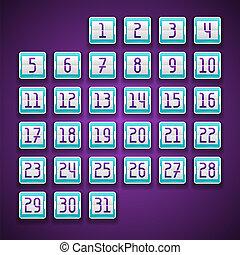 calendar., marcador, números, mecánico
