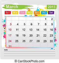 Calendar March 2013 , Abstract art style