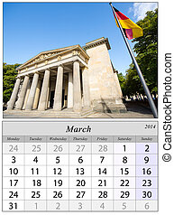 Calendar March 2014. Berlin, Germnay.