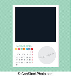 Calendar March 2014, Photo frame background