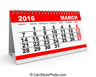 Calendar March 2016. - Calendar March 2016 on white...