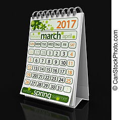 Calendar -  March 2017  (clipping path included)