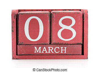 Red wooden calendar, March 8. Isolate on white.