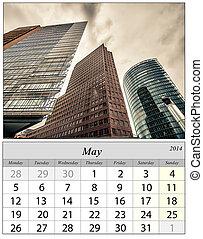 Calendar May 2014. Berlin, Germnay.