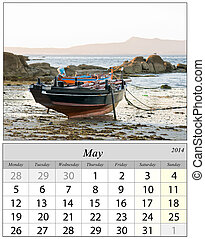 Calendar May 2014. Boats in Galicia, Spain.
