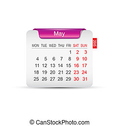 Calendar May 2015. Vector illustration. Design element.