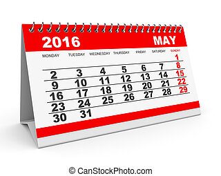 Calendar May 2016. - Calendar May 2016 on white background....