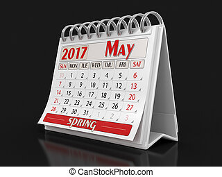 Calendar -  may 2017  (clipping path included)
