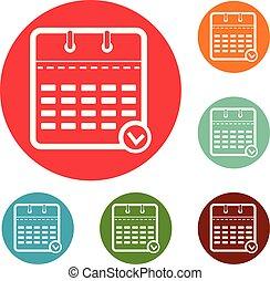 Calendar modern icons circle set vector