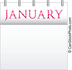 January - Calendar Month January With Custom Love Font
