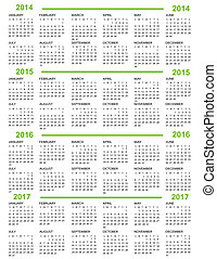 Calendar, New Year   2014, 2015, 2016, 2017 with green lines