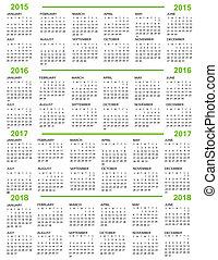 Calendar, New Year   2015, 2016, 20