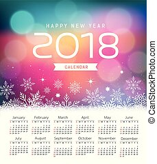 Calendar new year 2018, snowflake and purple bokeh