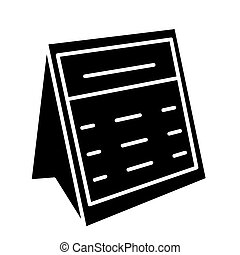 calendar note icon, vector illustration, black sign on isolated background