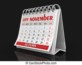 Calendar - November 2019 (clipping path included)