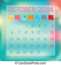 Calendar October 2014, Flat style background, vector illustration