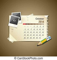 Calendar October 2014, vintage paper note, vector...