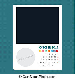 Calendar October 2014, Photo frame background