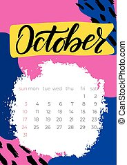 Calendar October 2021 planner with abstract vector graphic