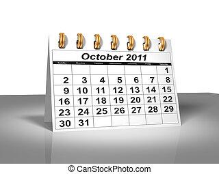 calendar., octobre, bureau, 2011.