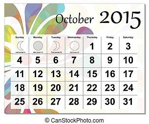 calendar., octubre, 2015