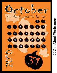 calendar., octubre, halloween