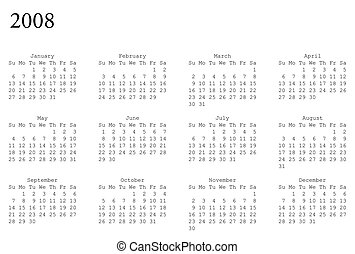 calendar of 2008 - horizontal oriented calendar grid of 2008...