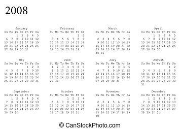 calendar of 2008 - horizontal oriented calendar grid of 2008...